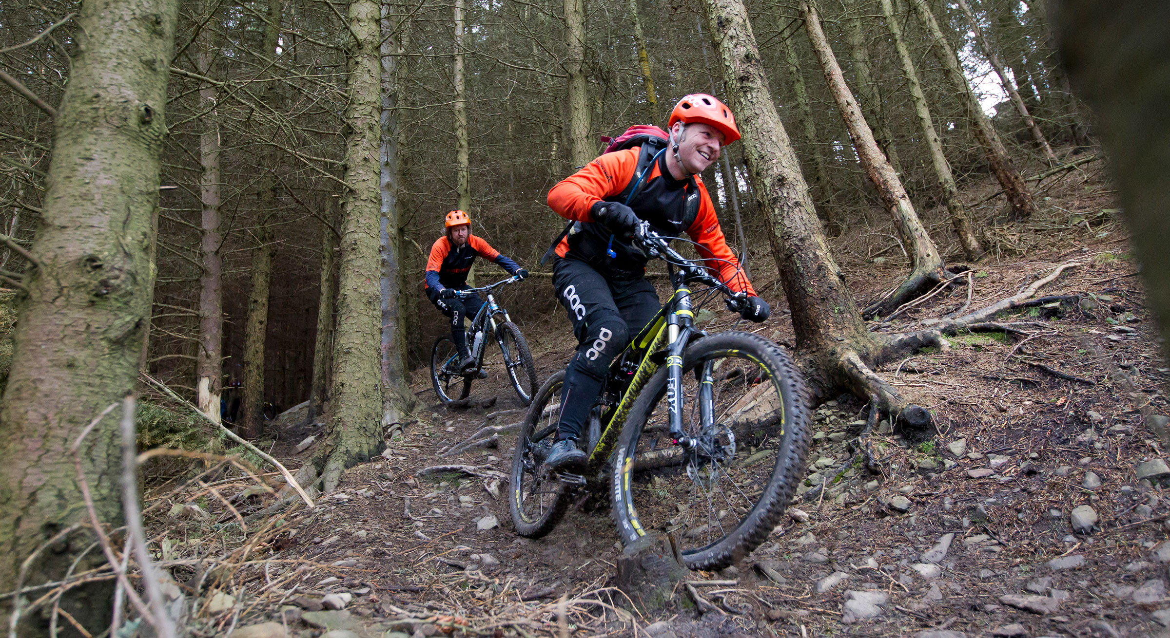 Neil & Andy, Ridelines Mountain Bike Instructors riding at Innerleithen.